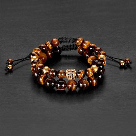 Stainless Steel Bead + Tiger Eye Natural Stone Bracelet Set // Gold + Brown
