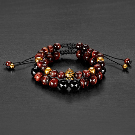 Stainless Steel Spartan Helmet + Tiger Eye + Agate Natural Stone Bracelet Set // Gold + Red + Black