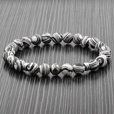 Zebra Print Natural Stone Bracelet // Black + White + Silver