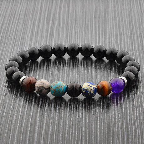 Multicolor Stone + Polished Onyx Beaded Bracelet // Black + Multicolor + Silver