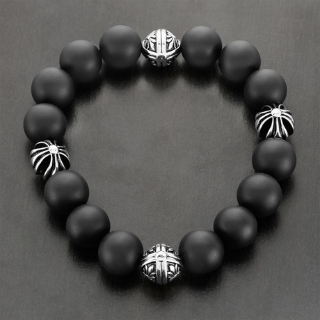 Matte Onyx Beaded Bracelet // Black + Silver
