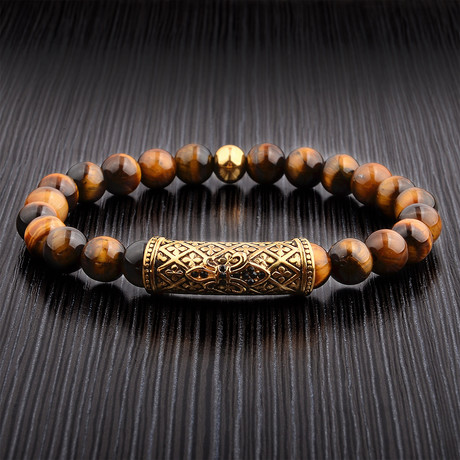 Fleur-de-Lis + Tiger's Eye Beaded Bracelet // Brown + Gold