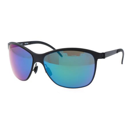 Men's M1047 Sunglasses // Black + Blue Mirror