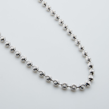 "Solid Sterling Silver Moon Cut Bead Chain // 5mm (24"")"