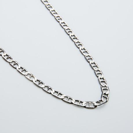 "White Diamond Cut Mariner Necklace // 20"" (20""L)"