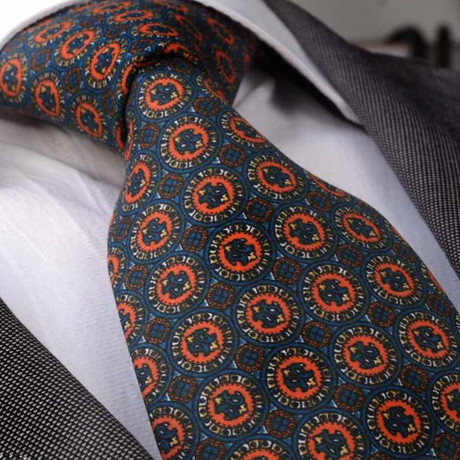Lorenzi Silk Tie // Blue + Orange