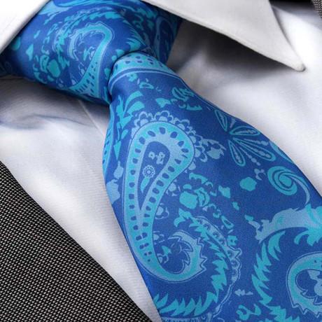 Fabri Silk Tie // Blue Paisley