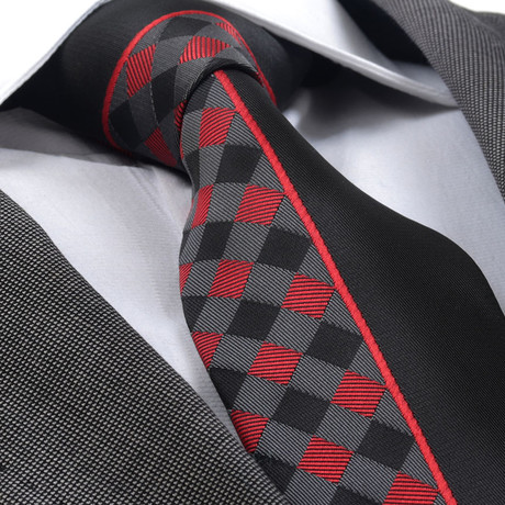 Arborius Silk Tie // Red Plaid + Black
