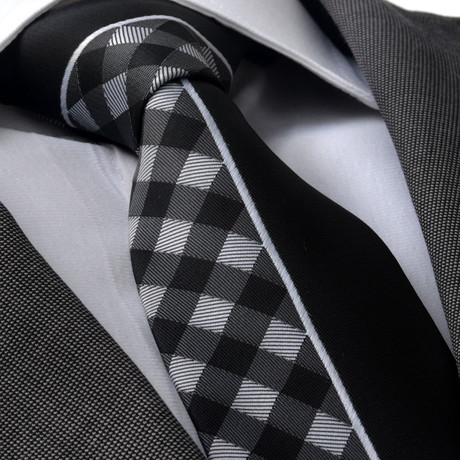 Jacobi Silk Tie // Gray + White Plaid + Black