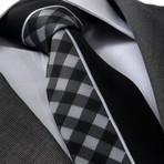 Jacobi Silk Tie // Gray + White Plaid + Black