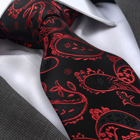 Santoro Silk Tie // Red + Black Paisley