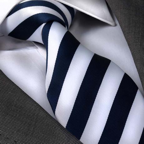 Corvus Silk Tie // Navy Blue + White Stripes