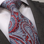 Luti Silk Tie // Red + White Paisley