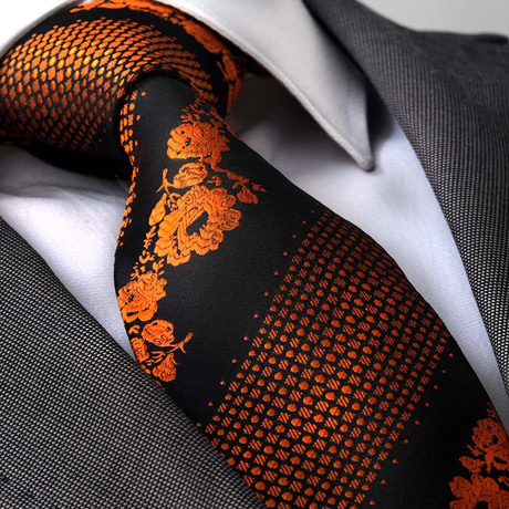 Fabricius Tie // Orange + Black