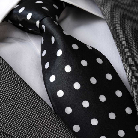 Apian Silk Tie // Black + White Polka Dot