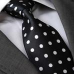 Apian Silk Tie // Black + White Polka Dot