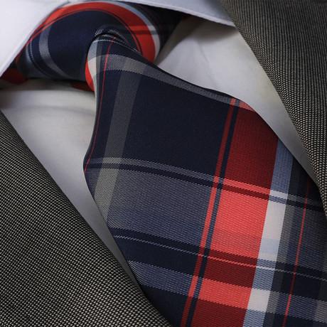 Aventinus Silk Tie // Blue + Red Plaid