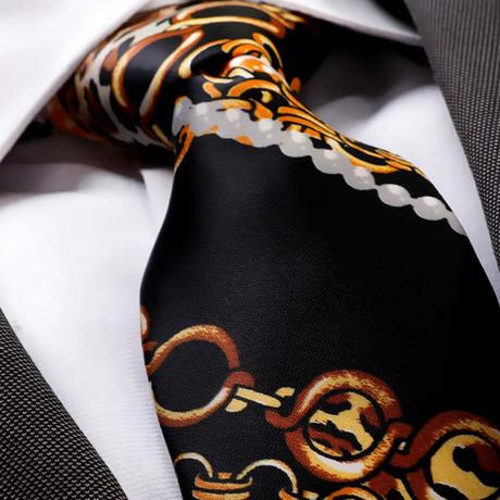 Faber Silk Tie // Black + Gold