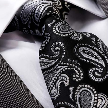 Lucioni Silk Tie // Black + Silver