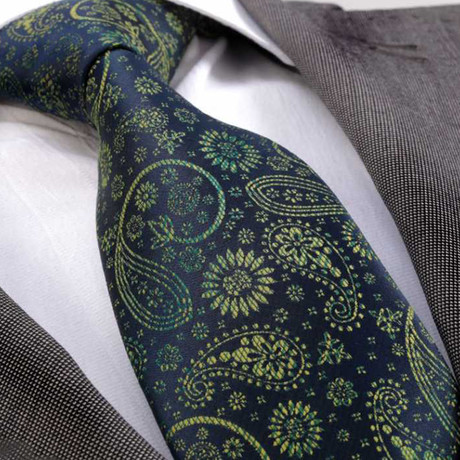 Mercator Silk Tie // Blue + Yellow Paisley
