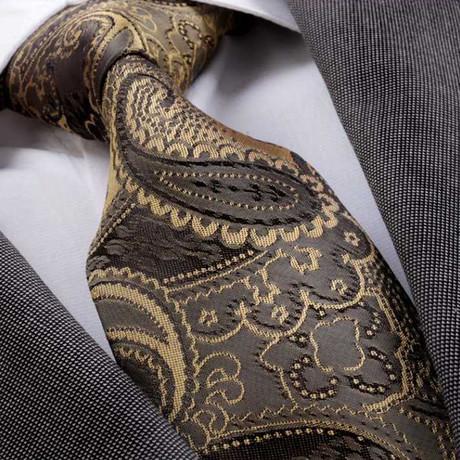 Amedeo Exclusive // Silk Tie // Brown + Gold (Brown, Gold)
