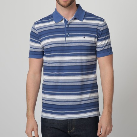 Button-Up Striped Polo // White + Blue