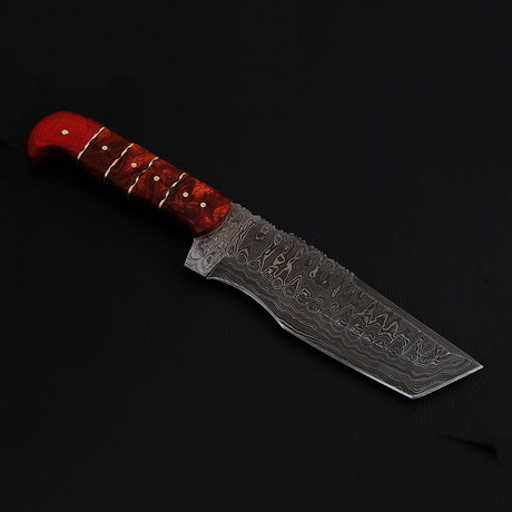 Damascus Steel Tanto Tracker Knife (Canvas Micarta Handle)