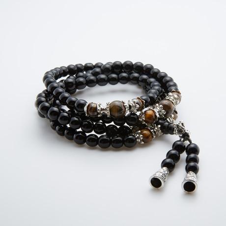 108 Spiritual // Black Tiger Eye + Black Sandalwood Beads
