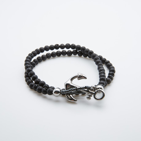 Lava Stone Double Wrap Bracelet // Black