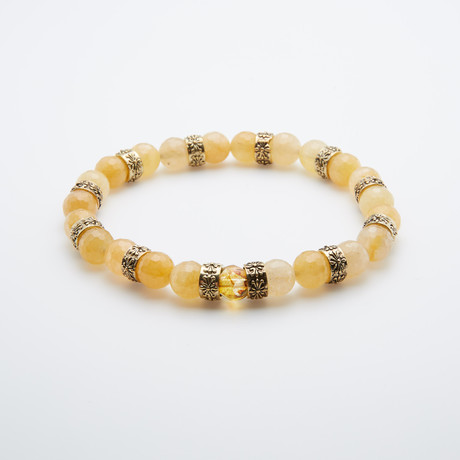 Faceted Jade Stone + Bohemian Crystal Bracelet // Yellow + Silver