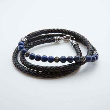 Lapis + Leather Wrap Bracelet // Black