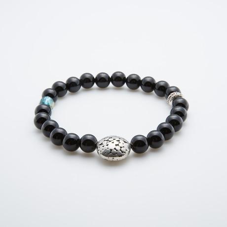 Black Obsidian Bracelet // Sphera Shield Charm