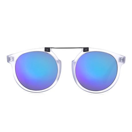 Owl Eyes II Sunglasses // Crystal Matte // White + Blue