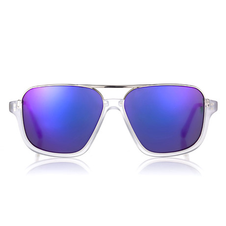 Derez Sunglasses // Crystal Matte // White + Blue