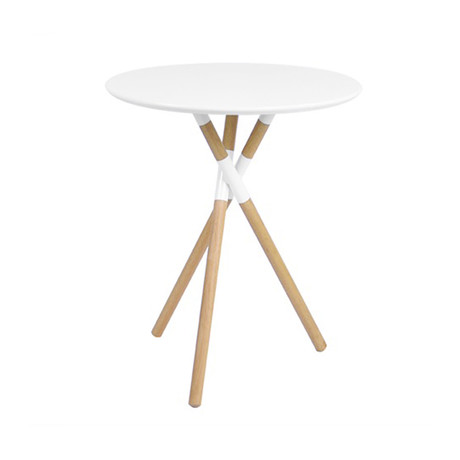 Blythe 24-Inch Round Table // White + Natural Wood Legs