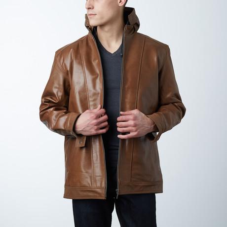 Zip Hooded Leather Jacket // Brown