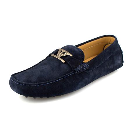 Suede Driving Shoe // British Blue