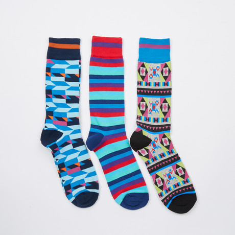 Pack of 3 Socks // Navy, Red, Turquoise