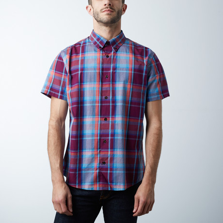 Mark Short Sleeve Shirt // Plum + Blue