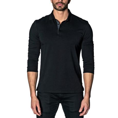 Long Sleeve Knit Polo // Black (S)
