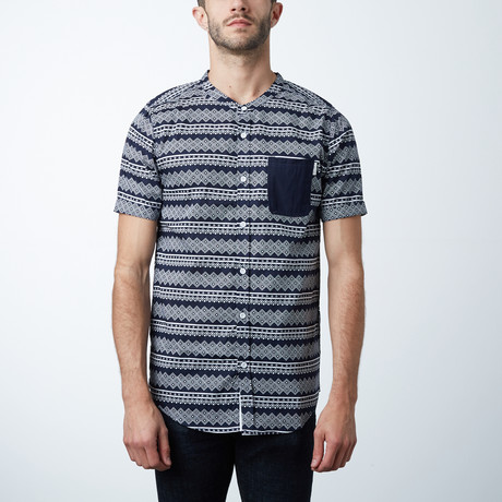 Ms Alcohol SS Button Up // Navy