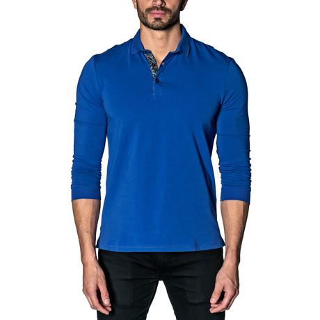 Long Sleeve Knit Polo // Blue (S)