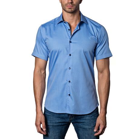 Woven Short Sleeve Button-Up // Blue Dots (S)