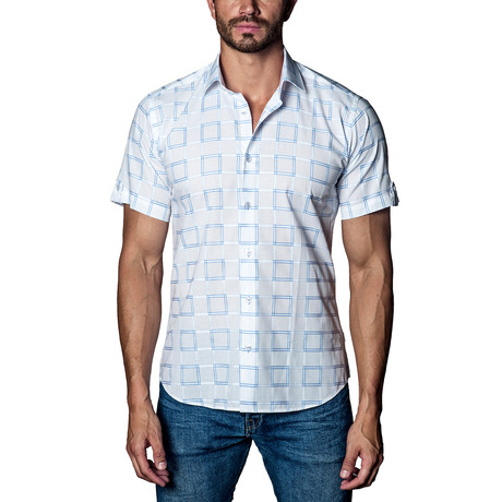 Woven Short Sleeve Button-Up // White + Box