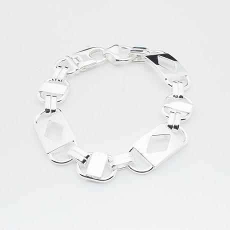Sterling Silver Fancy Diamond Shape Link Bracelet