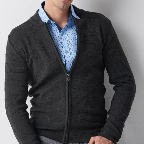 Hartley Zip-Up Tricot Cardigan // Anthracite