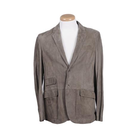 Liam Leather Blazer // Gray (XL)