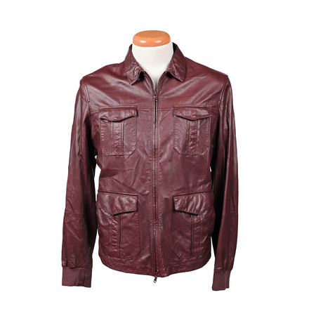 Ethan Leather Jacket // Maroon (XS)