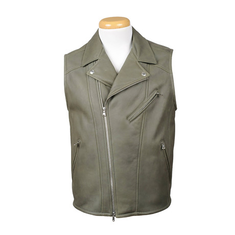 David Leather Vest // Green (XS)