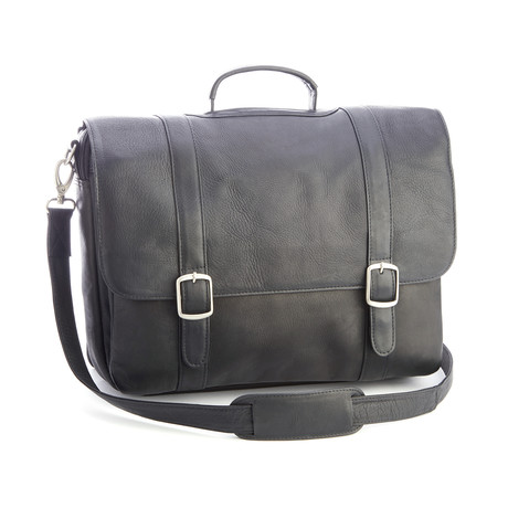"15"" Laptop Satchel Brief // Colombian Leather (Black)"